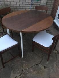 1960 Upcycled drop leaf table and chairs