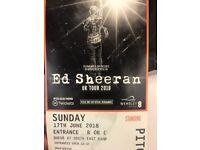 Ed Sheeran 17th June standing tickets