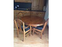 DUCAL PINE DINING TABLE & 4 CHAIRS
