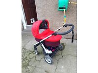 Mamas and papas sola 2 bright red and mulberry with extras