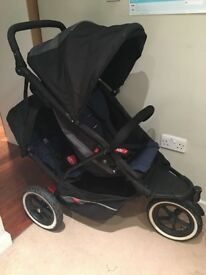 Phil and Teds Explorer Double Stroller Pram Black and Navy & rain cover