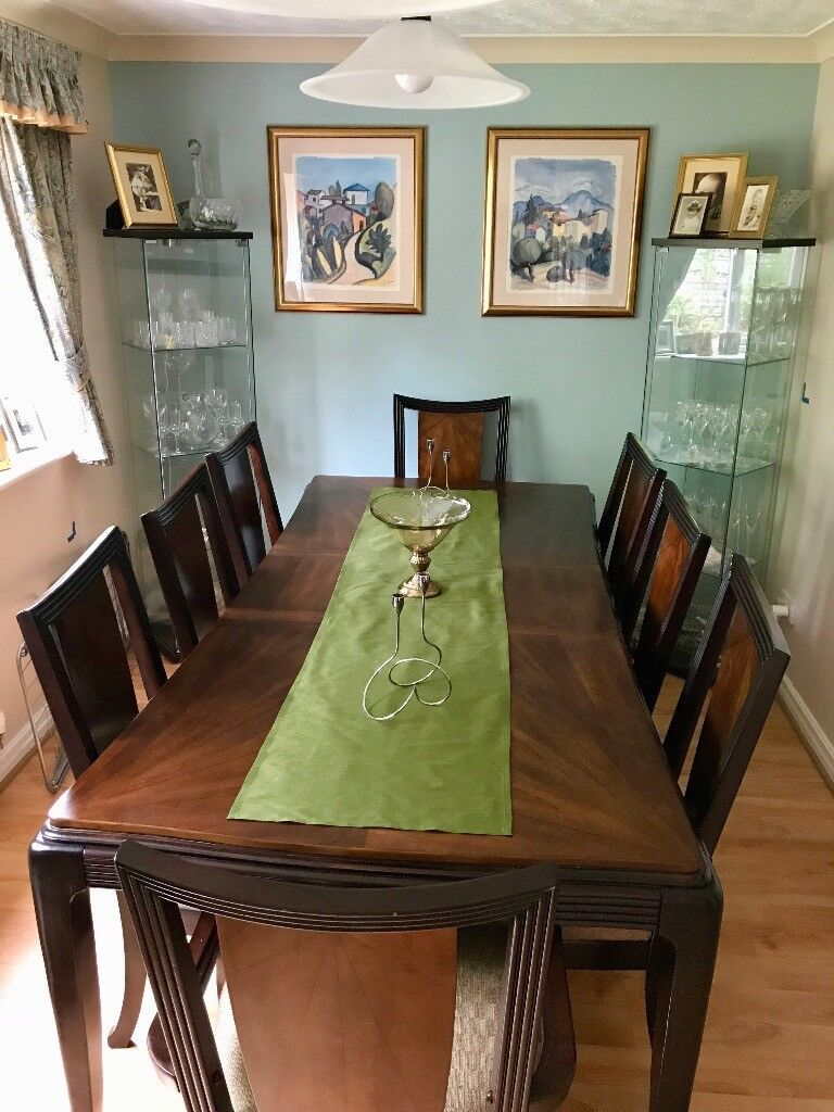 8 Seater Dark Wood Dining Table And Chair Set
