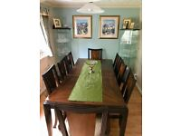 Price Reduced! 8-Seater dark wood dining table and chair set