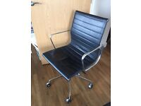 Eames ( Replica ) Low Back Ribbed Black Leather Office Chair