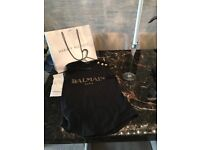 Authentic BALMAIN tee/vest with receipts, Harvey nichol bag and tissue