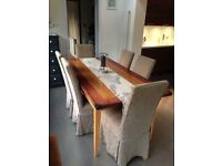 Solid Wood Dining Table and Six Fabric Covered Chairs
