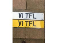 Private Registration Plate - V1 TFL. The plate is not on a vehicle and in retention ready for sale