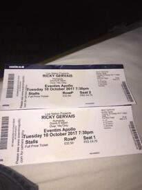 Ricky Gervais tickets for sale x2 @ Eventim Apollo Hammersmith