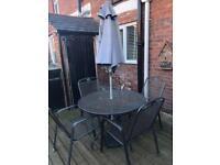 Ketler garden patio set and parasol