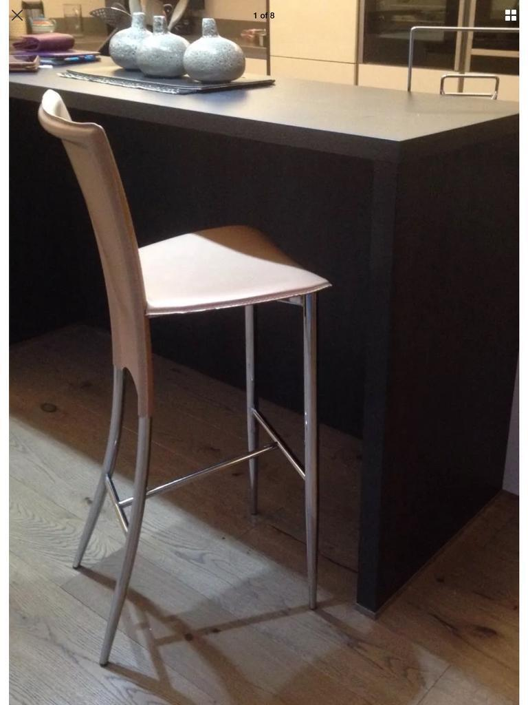 LEATHER BAR STOOL - Danish Made By ACTONA - Beige Seat With Stainless Steel Legs