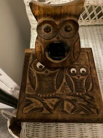 Wooden owl jewellery box and photo frame