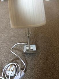 Small cream satin table lamp