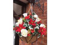Christmas silk flower hanging basket