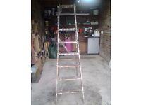 Vintage Folding Hardwood 5 Rung Step Ladder Plus Top Platform-Proceeds To Local Charity