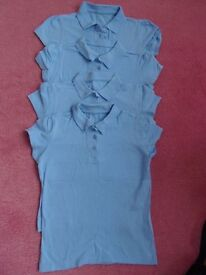 Age 10-11 years 4 blue girls polo shirts