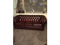 Oxblood leather chesterfield 3 seater sofa - amazing