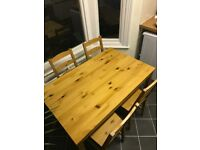 Lovely wooden dining room table and chairs