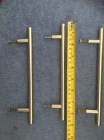 Qty 3 steel drawer handles satin finish.