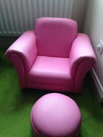 Pink kids armchair and footstool