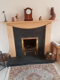 Fire surround with slate backing