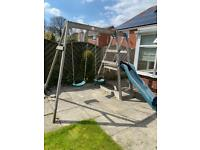 OPEN TO OFFERS RRP £399 Outdoor double swing and slide kids set