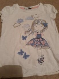 Girls white shirt wirh blue and grey print
