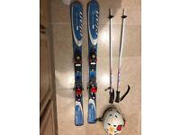 120 Starter skis for 8-11 years, poles, helmet