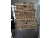 X3 wicker storage baskets