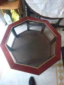 Hexagonal Coffee Table with glass top & lower shelf in good condition