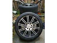 """15"""" alloys wheels with tyre , black and silver 195/50/15"""