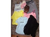 Girls clothes bundle, 1 pair mule slippers, 1 pr brown shoes, 3 tops, black frill edge jacket, fitne