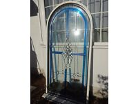 LARGE STAINED & BEVELLED GLASS DOUBLE GLAZED ARCH WINDOW WITH UPVC FRAME