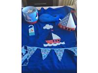Nautical lamp, lampshade blanket cushion bunting and door hanger