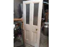 Door (Internal) 4 panel Painted Pine Part Glazed 73 x 32 x 1.5 (Ref F)