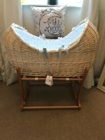 Beautiful Peter Rabbit Moses Basket and rocking Stand.