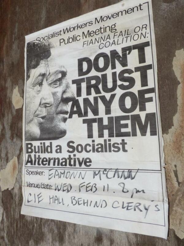 Vintage Socialist Workers Movement Fianna Fail Eamonn McCann Ireland Poster