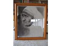 'Mother Theresa', giclee print of pencil pointillism, framed.