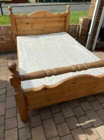 Solid pine double bed with or without mattress