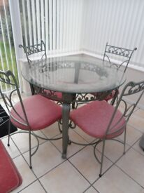 GLASS & MARBLE ROUND TABLE AND COFFEE TABLE
