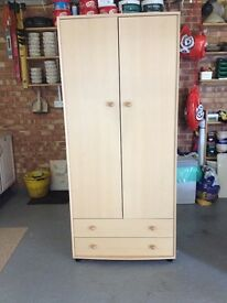 2 Beech Effect wardrobes, with 2 drawers each