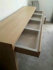 Ikea Malm large Dressing Table/desk with drawer in oak veneer