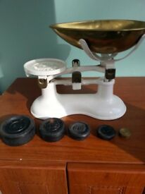 Vintage set of cast iron and brass kitchen scales with set of weights