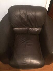 Two brown leather armchairs- Free
