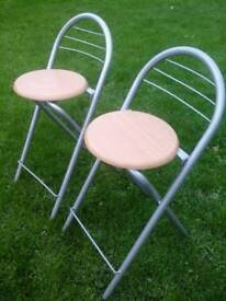 PAIR OF FOLDAWAY KITCHEN CHAIRS