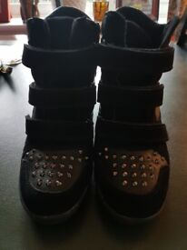 Funky black wedge boots size 7