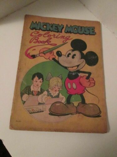 DISNEYANA- 1931-Mickey Mouse Coloring Book-Saalfield # 871-  RARE