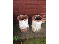 2 vintage chimney pots