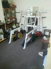 Commercial squat rack plus 190kg of ivanko plates