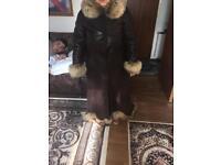 Ladies leather and fur coat