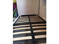 White leather high back single bed